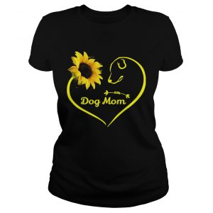 Heart shaped sunflower and dog mom ladies tee