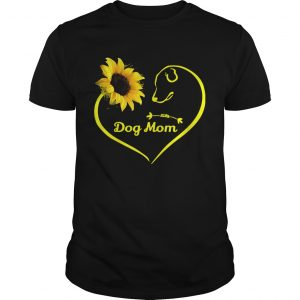 Heart shaped sunflower and dog mom tshirt