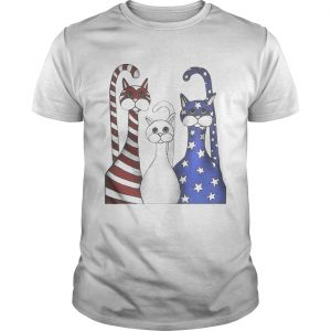 Cats red white and blue American flag shirt