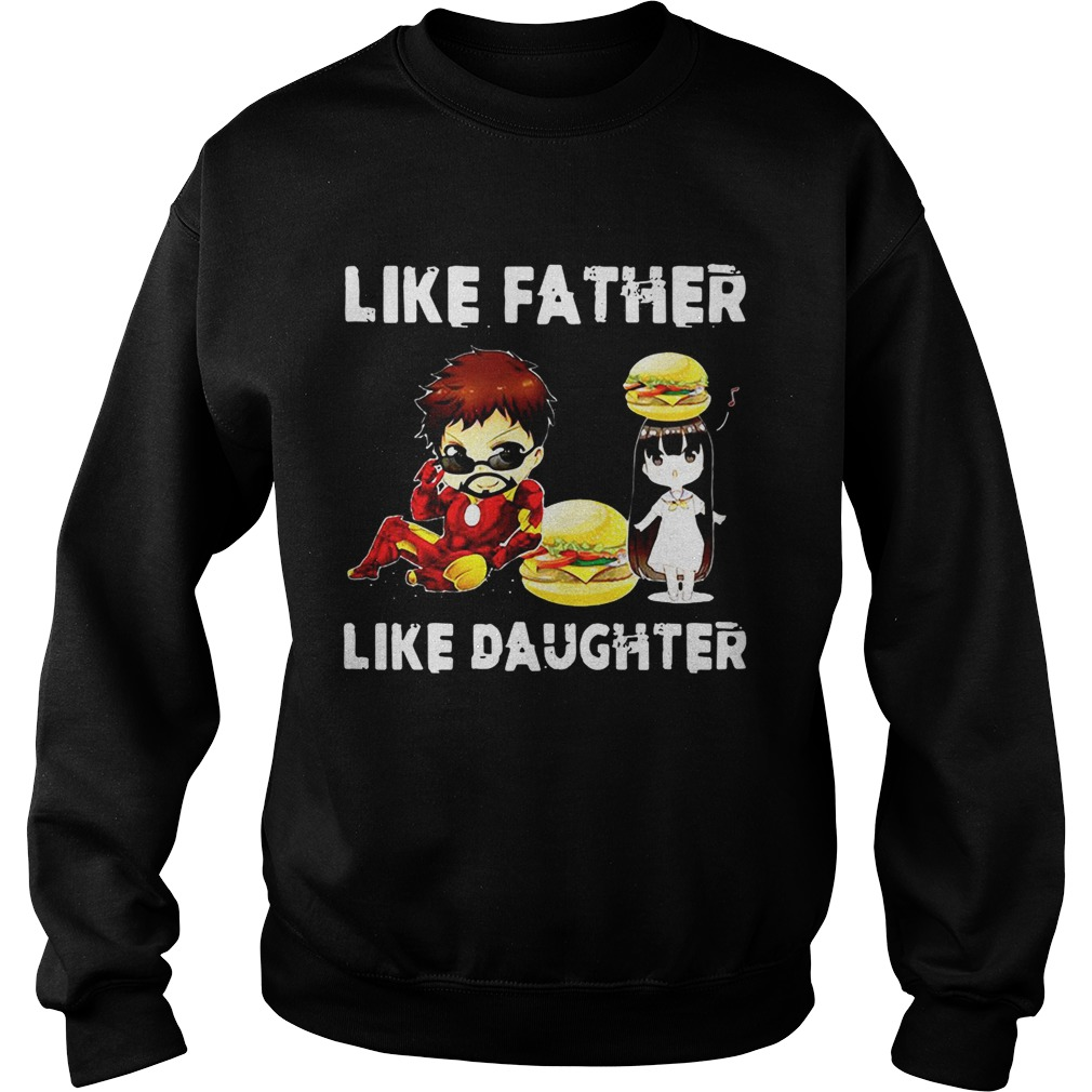 328ad4250 Iron man and daughter hamburger like father like daughter Avengers Endgame  shirt. Iron ...