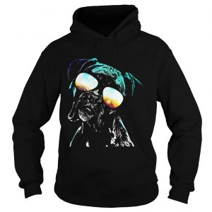 Boxer wearing glasses neon dog hoodie