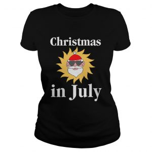 Christmas In July Funny Sunny Santa Holiday Graphic Ladies Tee