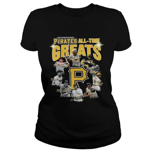 Pittsburgh Pirates all time great players signatures Ladies tee