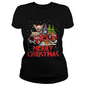 Chihuahua Rides Red Truck Merry Christmas Pajama Ladies Tee