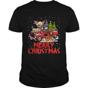 Chihuahua Rides Red Truck Merry Christmas Pajama Unisex